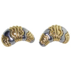 "Bulgari 18 Karat Yellow and Stainless Steel Earrings ""Parentesi"""