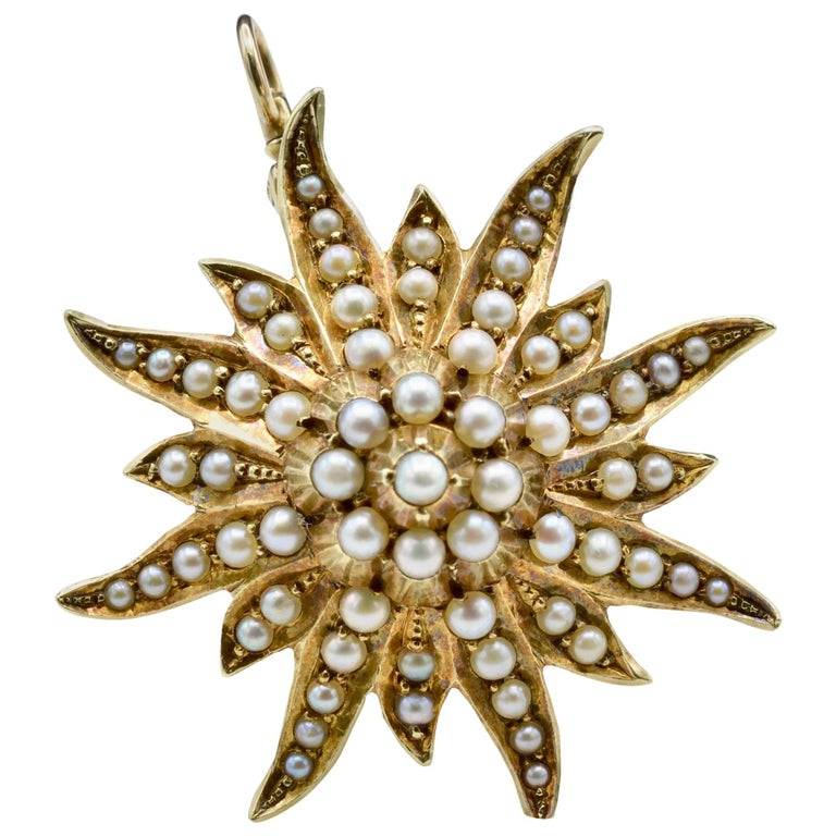 Victorian Natural Fine Seed Pearl Pendant in Yellow Gold in a Sun Star Fashion