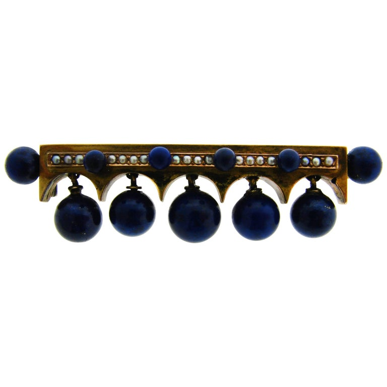 Lapis Lazuli Seed Pearl Yellow Gold Pin Brooch Clip European