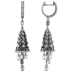 1.42 Carat Diamonds with Dangling Sapphire Briolettes Gold Earrings