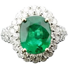 Certified 3.91 Carat Oval Emerald and Diamond Cocktail Ring