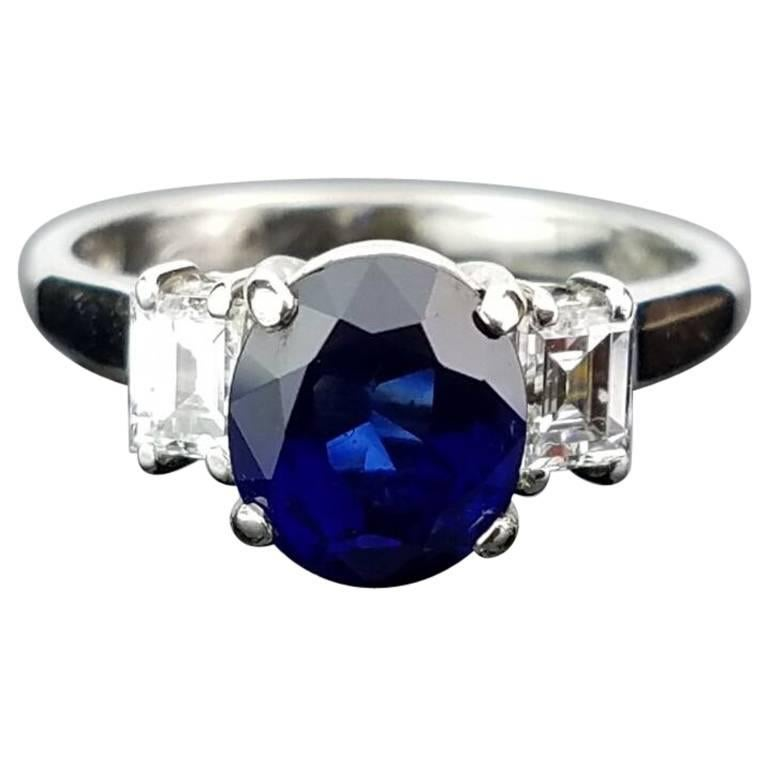 Certified 2.04 Carat Oval Sapphire and Diamond Engagement Ring