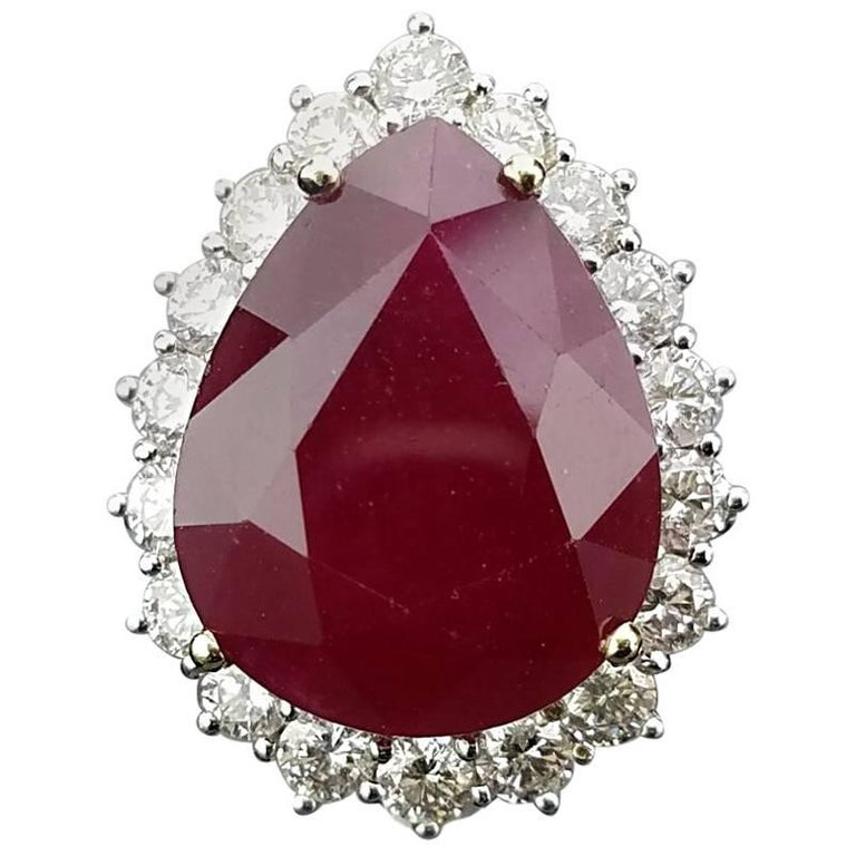 11.38 Carat Pear Shape Ruby and Diamond Cocktail Ring