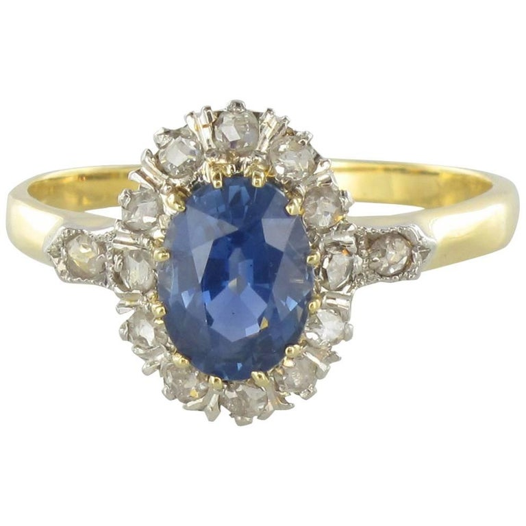 French 19thCentury Napoleon 3 Sapphire Diamond Pompadour Engagement Cluster Ring