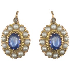 1900s French Belle époque Sapphire Cultured Pearl Drop Earrings