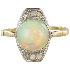 French 1925s Art Deco 1.37 Carat Opal Diamonds Ring