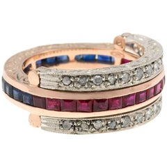 Handcrafted Italian Rose Gold Ruby Sapphire and Diamond Hinged Eternity Ring