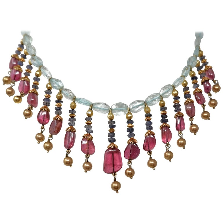 Aquamarine Tanzanite Rubellite and Gold Bead Necklace