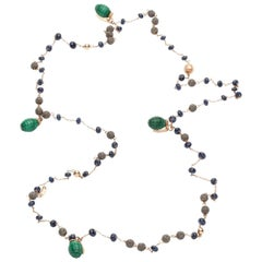Monica Bonvicini Rosario Chain Rosegold Malachites Sapphires