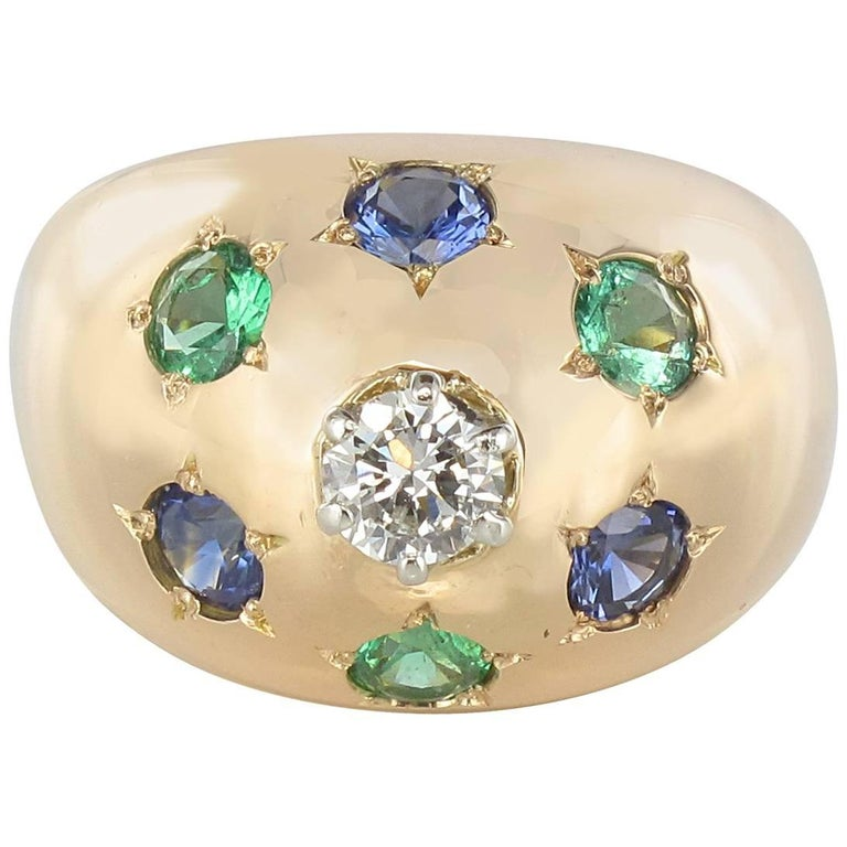 1950s 18 Karat Rose Gold Emerald Sapphire Diamond Constellation Dome Ring