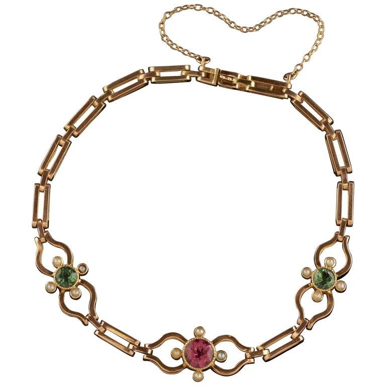 Antique Victorian Suffragette Bracelet 18 Carat Gold Tourmaline, circa 1900