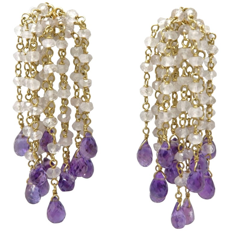 Dancing Apsara 18K Chalcedony and Amethyst Gold Bead Earrings
