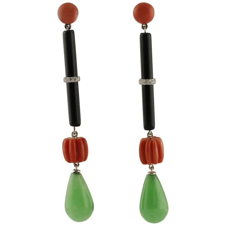 Onyx Jade Diamonds Coral White Gold Dangling Earrings