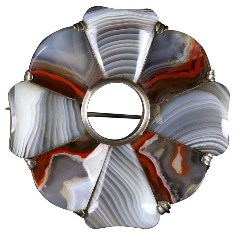 Antique Victorian Scottish Agate Brooch, circa 1860