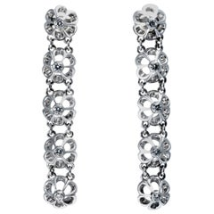 1950 Vintage Original Diamond Gold Drop Earrings