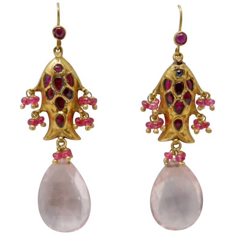 Dancing Apsara Spinel Ruby and Yellow Gold Fish Dangle Bead Earrings