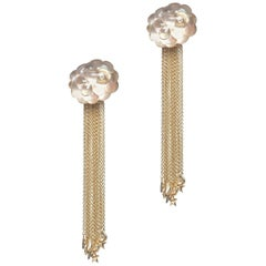Cloud Tassel 18 Karat Yellow Gold Smoky Quartz White Diamonds Earrings
