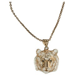 Tiger Head Pendant in Silver and 18 Karat Gold Vermeil with Black Diamonds