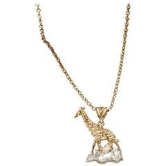 Solid Silver Giraffe Pendant with 18 Karat Gold Vermeil