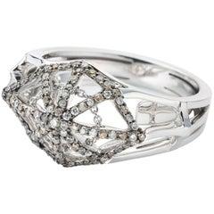 Cobweb 18 Karat White Gold with Diamonds Cluster Cocktail Ring