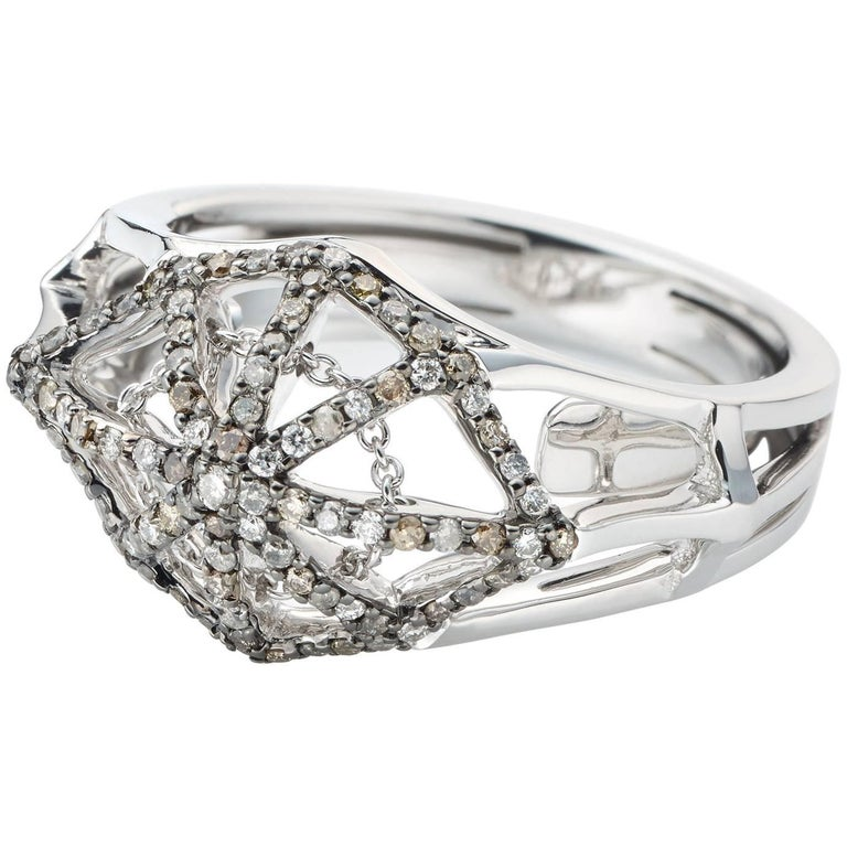 Cobweb 18 Karat White Gold with Diamonds Cluster Cocktail Ring