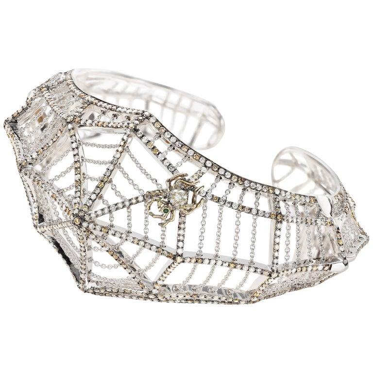 Cobweb 18 Karat White Gold Diamonds Bracelet Cuff