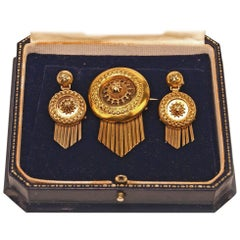 Drop Earring Brooch Jewelry Set 14 Carat Gold 585 Vintage, Vienna, Austria
