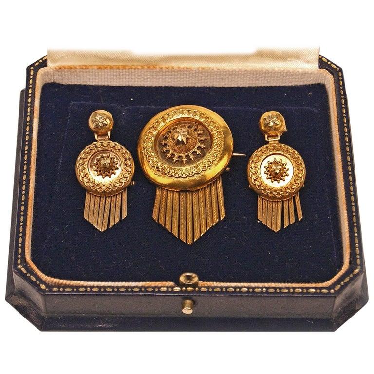 Drop Earring Brooch Jewelry Set 14 Carat Gold 585 Vintage, Vienna, Austria