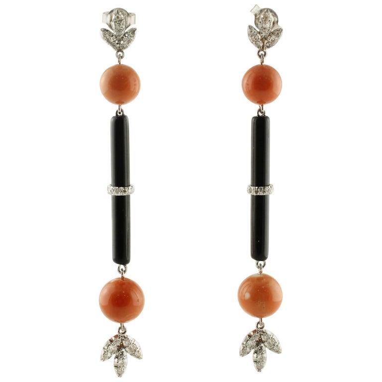 Coral Onyx Diamonds White Gold Dangling Earrings
