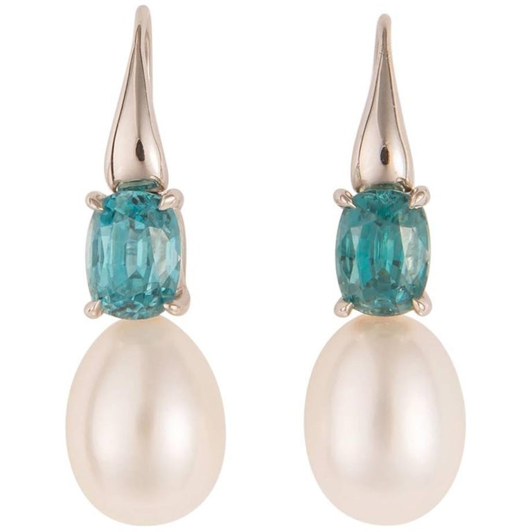 One of a Kind White Gold Zircon and Pearl Earrings For Sale