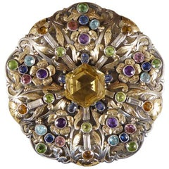 Arts & Crafts Large Multi Gem Set Brooch in Both Silver and Gold