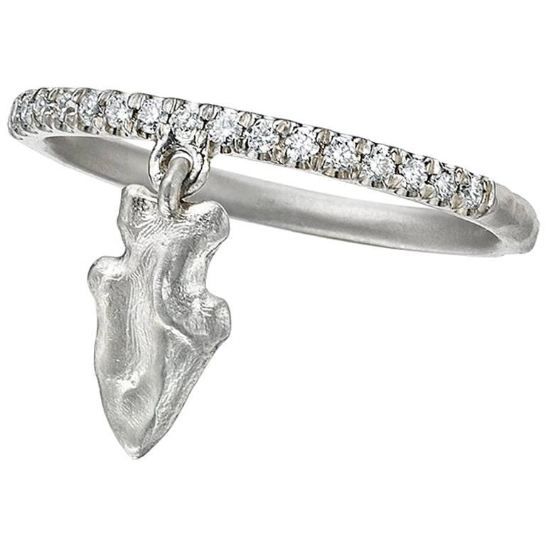 Wendy Brandes Arrowhead Charm Stacking Diamond and Platinum Ring