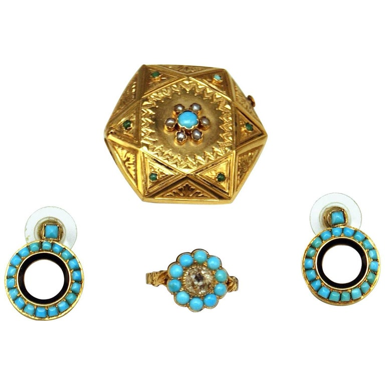 Drop Earring Brooch Ring Jewelry Set Gold Turquoises Pearls Diamond, Vienna 1890