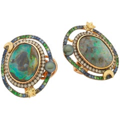 Opal Orb 18k Rose Yellow Gold Opals Diamonds and Gemstones Earrings