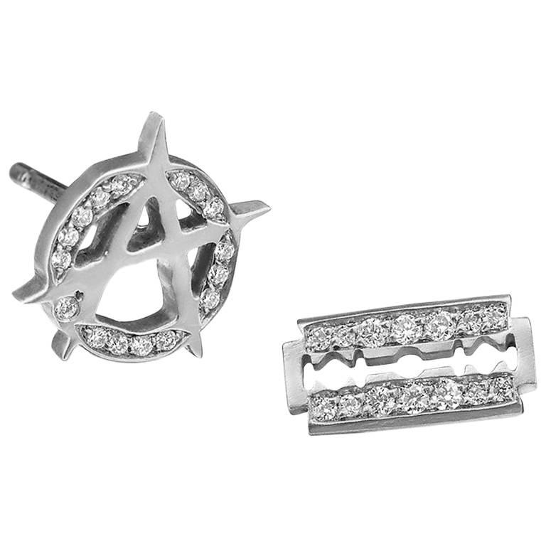 Wendy Brandes Punk Mixed Asymmetrical Diamond and Platinum Stud Earring Pair