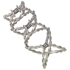 Wendy Brandes Full-Finger Hinged Barbed Wire Diamond, Ruby and Platinum Ring