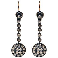 Drop Dangle Earrings 14ct Gold 585 Old-Cut Brilliants 3Ct Vienna Austria c.1900