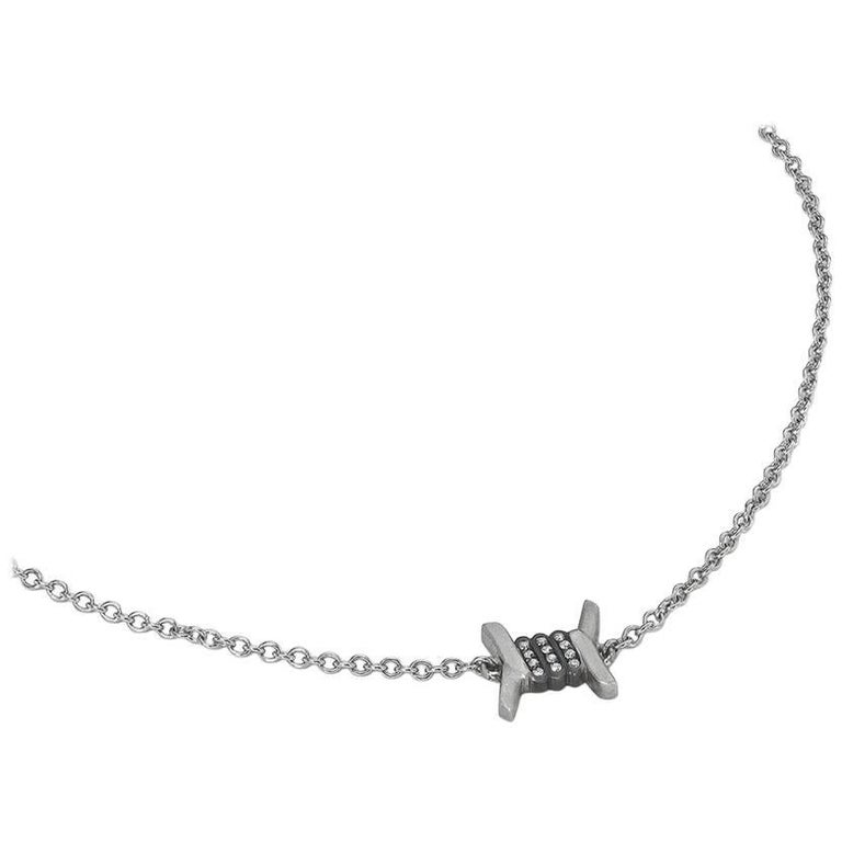 Wendy Brandes Barbed Wire Diamond and Platinum Necklace