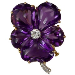 European Yellow Gold Amethyst and Diamond Pansy Brooch