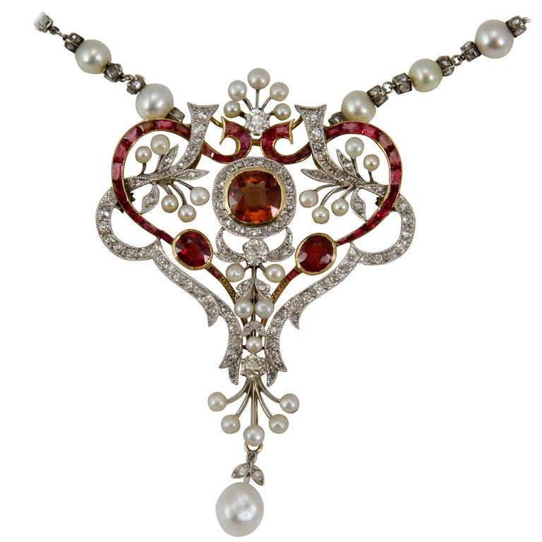 Belle Epoque Diamond, Spinelle, Garnet and Pearls Necklace from Paris For Sale