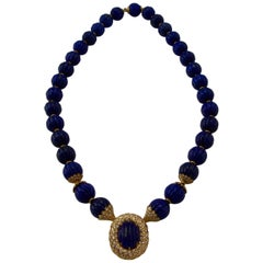 Lapis and Diamond Yellow Gold Necklace by Missaglia