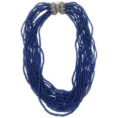 Sapphire Multi-Strand Beaded Necklace with Vintage Diamond Clasp