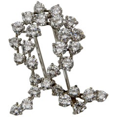 Vintage White Gold Diamond Ruban Brooch