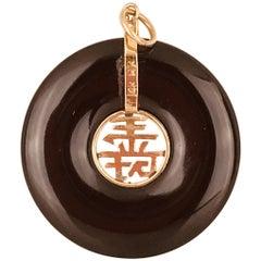 Chinese, Black Onyx Pendant with Good Luck Symbols, 14 Karat Retro HK Hallmark