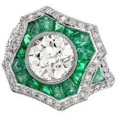 Diamond Emerald Platinum Engagement Ring