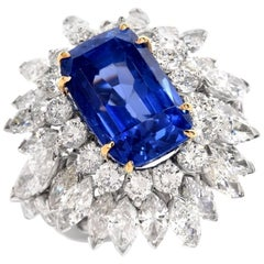 1980s Burma No Heat 13.65 Carat Sapphire Diamond Platinum Cocktail Ring