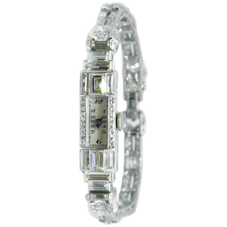 Art Deco platinum Diamond Cocktail Wristwatch