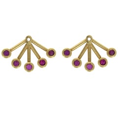 April 18 Karat Yellow Gold Pink Sapphire Earring Jackets