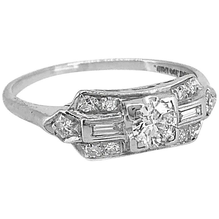 .33 Carat Diamond Antique Engagement or Fashion Ring Platinum