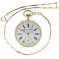 IWC pink gold Pocket Watch with Gold Chain, circa 1910
